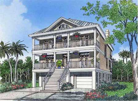 Southern bell southern comfort homes gallery for Two story beach house plans